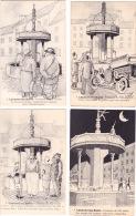 LACAUNE Les BAINS - Série De 7 Cartes Humoristiques Illustrées Sur La Fontaine Des 3 Pisseurs - Altri Comuni