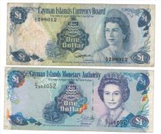 Bermuda , 1 Dollar X 2 , 1974- 2001, Used. - Iles Cayman