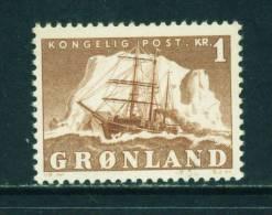 GREENLAND - 1950 Sailing Ship 1k Mounted Mint - Greenland