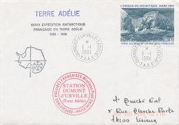 E 291/ TAAF  SUR  LETTRE-DUMONT D'URVILLE T. ADELIE   -1984- - Covers & Documents