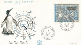 E 323/ TAAF  SUR  LETTRE   - 1ER JOUR   ARCHIPEL  KERGUELEN  1969 - FDC