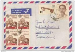 TH - 12222 - Enveloppe Envoyée De L´Inde En Suisse - 4 Timbres Ghandi - Attention Pli Vertical Au Milieu - Mahatma Gandhi