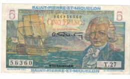 Saint Pierre & Miquelon , 5 Fr. XF. - Banknotes