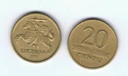 LITUANIA - 20 Centai 1997  KM108 - Lituania