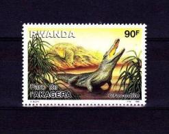 V] Timbre ** Rwanda Yv. 1222 Crocodile Reptile Reptil Parc De L´Akagera - 1980-89: Neufs
