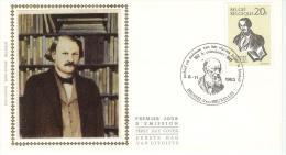 BELGIË- SILK FIRST DAY COVER- BEROEMDE VLAAMSE SCHRIJVERS- HENDRIK CONCIENCE - Schriftsteller