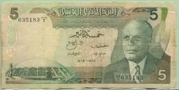 TUNISIE 5  Dinars Du  3/8/1972  - Pick 68 A - Tunisie