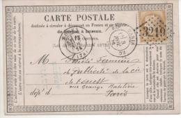 CARTE POSTALE PRECURSEUR  CERES   GC 3219   1874 TIMBRE N; YVERT 55 OU 594 - 1849-1876: Klassieke Periode