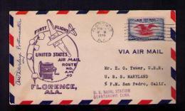USA Naval Station GUANTANAMO, CUBA 1939 Cover First Flight Algodon Flora Fleurs Flowers Route AM40 Sp2548 - Plants