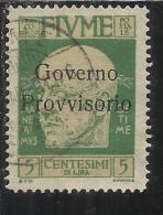 FIUME 1921 EFFIGIE D´ANNUNZIO SOPRASTAMPATO OVERPRINTED  GOVERNO PROVVISORIO SENZA TRATTINO CENT. 5 USED - 8. Occupazione 1a Guerra