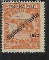 FIUME 1922 PRO FONDAZIONE STUDIO SOPRASTAMPATO OVERPRINTED COSTITUENTE FIUMANA CENT. 20 USED - 8. Occupazione 1a Guerra