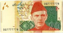 PAKISTAN NEW 20RS SEMI FANCY NUMBER  DQ7777778  2012 - Pakistan