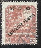 FIUME 1921 PRO FONDAZIONE STUDIO SOPRASTAMPATO OVERPRINTED COSTITUENTE FIUMANA LIRE 2 USED - 8. Occupazione 1a Guerra