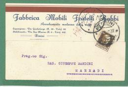 RIMINI  CARTOLINA  PUBBLICITARIA FABBRICA MOBILI FRATELLI BABBI   - VIAGGIATA  1931 - Pubblicitari