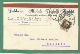 RIMINI  CARTOLINA  PUBBLICITARIA FABBRICA MOBILI FRATELLI BABBI   - VIAGGIATA  1931 - Advertising