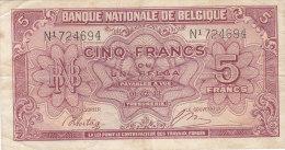 5 FRANCS-UN BELGA 01-02-43   N1 724694 - [ 2] 1831-... : Koninkrijk België