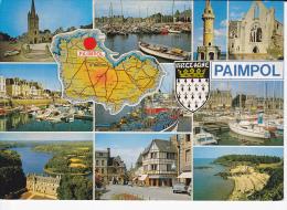 PAIMPOL (Côtes Du N.), Carte De Rég. Blason, Eglise, Phare, Port, Place Du Village, Bateaux, Simca Ariane, VW Coccinelle - Paimpol