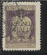 FIUME 1924 SAN VITO E SOGGETTI VARI SOPRATSAMPATO OVERPRINTED REGNO D´ITALIA CENT. 10 USED - 8. Occupazione 1a Guerra