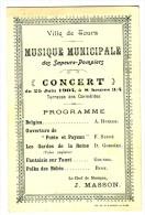 TOURS - Concert Musical Du 25 Juin 1904. Terrasse Des Carmélites . Format 13.5 X 8.5. Document Rare. - France