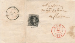 839/21 - Lettre TP Médaillon 10 C Cachet à Barres 58 HEER 1856 Vers FLAVION Par ANTHEE - Origine DOISSCHE - 1851-1857 Medallions (6/8)