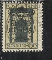 FIUME 1924 SAN VITO E SOGGETTI VARI SOPRATSAMPATO OVERPRINTED REGNO D´ITALIA CENT. 30 USED - 8. Occupazione 1a Guerra