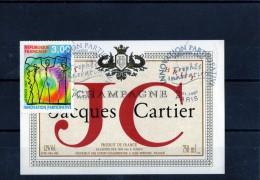 ETIQUETTES + TIMBRE OBLITERE (Jacques Cartier) - Francobolli