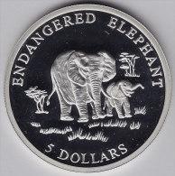 @Y@   Liberia  5 Dollar 2000 ENDANGERED  ELEPHANT    Proof   (2597) - Liberia