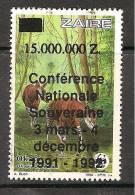 Zaire / Congo Kinshasa / RDC - Surcharge Non Cataloguée Sur COB 1256 (Valeur Bloquée De La Série) - WWF - MNH / ** 1992 - W.W.F.