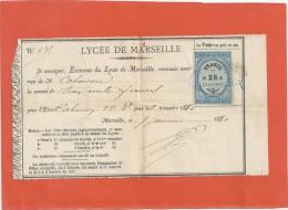 Timbre De Dimension 25c Sur Ticket Lycee De Marseille 7/1/1880 - Fiscaux
