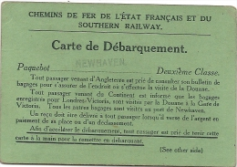 CARTE DE DEBARQUEMENT . RAILWAYS... - Vervoerbewijzen
