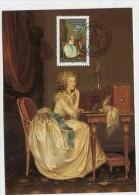 """LIECHTENSTEIN - AK 182233 MC - Postcard + Stamp - MC86 Gemälde - Gesamtbild """"die Briefschreiberein"""" - Maximumkarten (MC)"""
