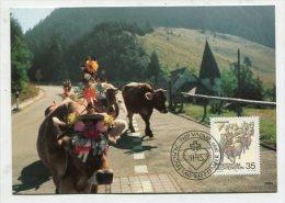 LIECHTENSTEIN - AK 182241 MC - Postcard + Stamp - MC90 Herbstbräuche - Alpabfahrt - Maximumkarten (MC)