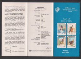 INDIA, 1992,    Birds Of Prey, Eagle Falcon Osprey Lammergeier  , Brochure. - Indien