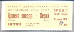 Football RED STAR BELGRADE Vs HERTHA BERLIN TICKET 11. 041979. UEFA CUP SEMIFINAL - Tickets D'entrée