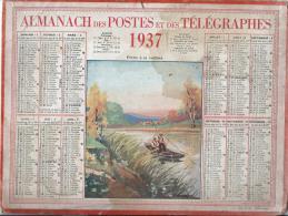 """Calendrier Des Postes Et  Des Télégraphes/""""Pêche à La Cuillére""""/PARIS/ France/ 1937             CAL136 - Petit Format : 1921-40"""