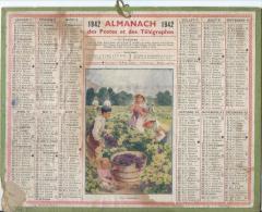 """Calendrier Des Postes Et Des  Télégraphes/""""Les Vendanges""""/PARIS/ France/ 1942            CAL137 - Calendars"""