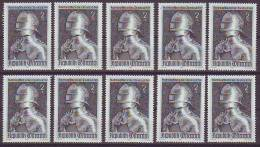 1202z1: Österreich 1969,  Kunsthandwerk Gotischer Harnisch Kaiser Maximilians, 10 ** Ausgaben - Histoire