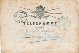 860/21 - Enveloppe De TELEGRAMME BRUGES 1886 - Cachets Postal Et Télégraphique - Telegraph