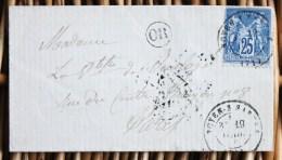Lettre Affranchie Pour Paris Oblitération Type 17 Noyen Sur Sarthe - Poststempel (Briefe)