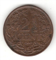 Netherlands  2,5 Cents 1941  Km 150  Xf+ !!! - [ 3] 1815-… : Royaume Des Pays-Bas
