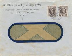 879/21 -  Lettre TP Houyoux HUY 1928 - Entete Electricité Du Pays De Liège - 1922-1927 Houyoux