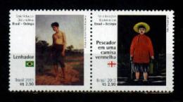 Brasil 2013 ** Relaciones Diplomat. Con Georgia. Pintura. Leñador (Pinto Bandeira) Pescador En.... (Pirosmani). See Desc - Brazil