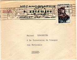 """TEX-L13 - FRANCE Flamme De Propagande """" CHOLET Mouchoirs, Toiles Tout Textile"""" 1958 - Textile"""