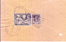 1946 Airmail Cover From Maubin, Burma [machine Obliterator] To Paganeri, India - Myanmar (Burma 1948-...)