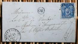 Lettre Affranchie Type Sage Pour Le Plessis Belleville Oblitération Type 17 Noyen Sur Sarthe - Marcofilia (sobres)