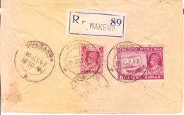 19.07.1947 Registered Commercial Cover From Wakema, Burma To Sivaganga, India Via Alavakottai - Myanmar (Burma 1948-...)
