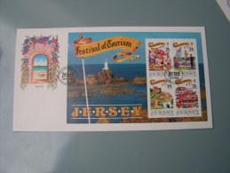 == Jersey FDC 1990  Tourist Festival Block - Jersey