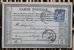 Carte Postale Précurseur Affranchie Pour Apt Oblitération Type 17 Gare-de-Nîmes Gard - Postmark Collection (Covers)