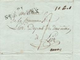 919/21 - Document 21 ST BRIEUX An 9 Vers LIER - Port Encre 9 Sols Pour Anvers , 10 Sols Au Total Pour LIER - 1794-1814 (Periodo Francese)
