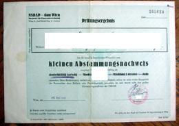 NSDAP - GAU WIEN - Prüfungsergebnis - Urkunde Kleinen Abstammungsnachweis - 1942 - Documenti